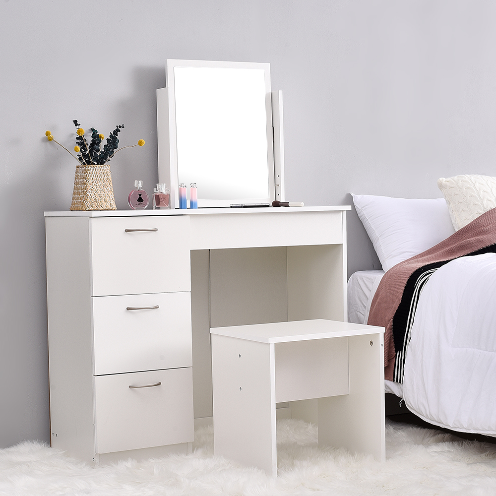 White 3 Drawers Makeup Dressing Table